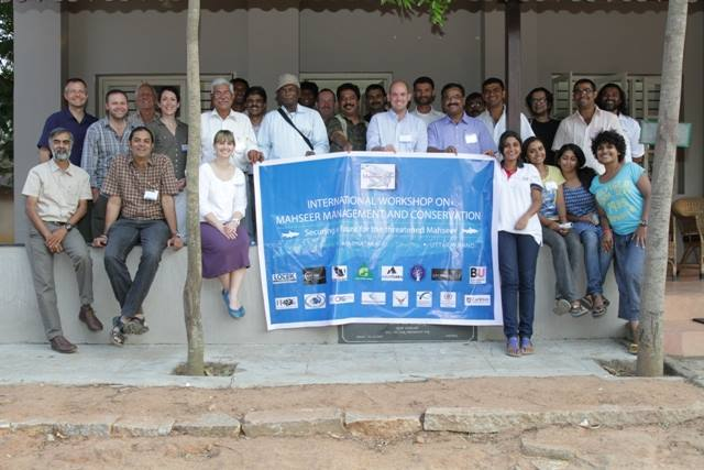 A group of international experts and stakeholders (including representatives from local and international NGOs, fisheries managers, and angling organizations) came together in Bannerghatta, Karnataka, India (March 2014) to discuss mahseer conservation and develop a research plan for the species. Photo credit: Steve Locket